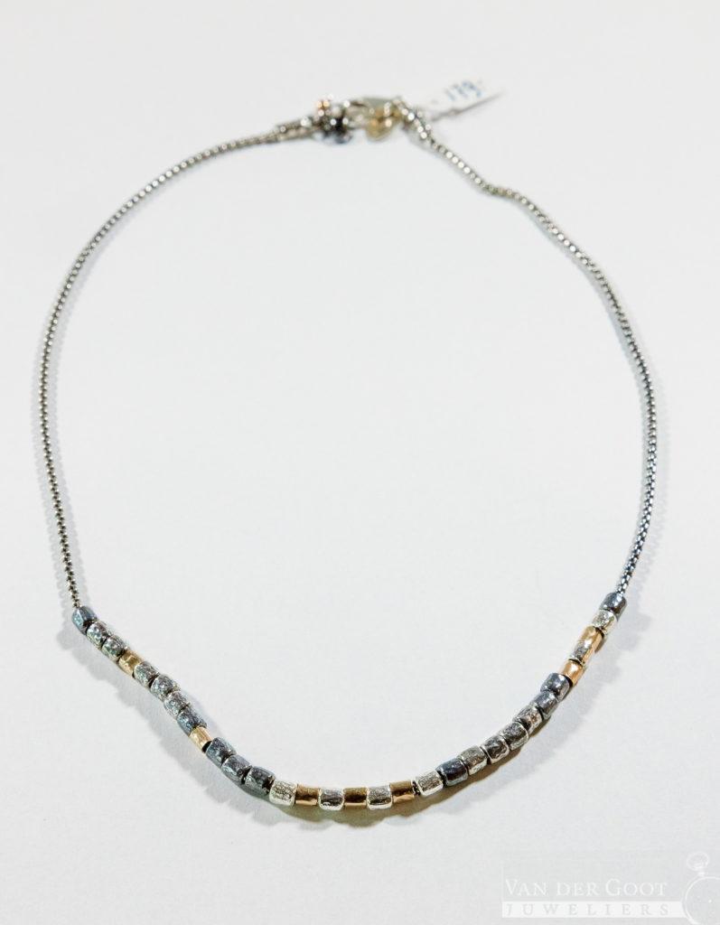 No. 880 Jeh Collier zilver kleine Goldfilled buisjes  42 cm  €179,-